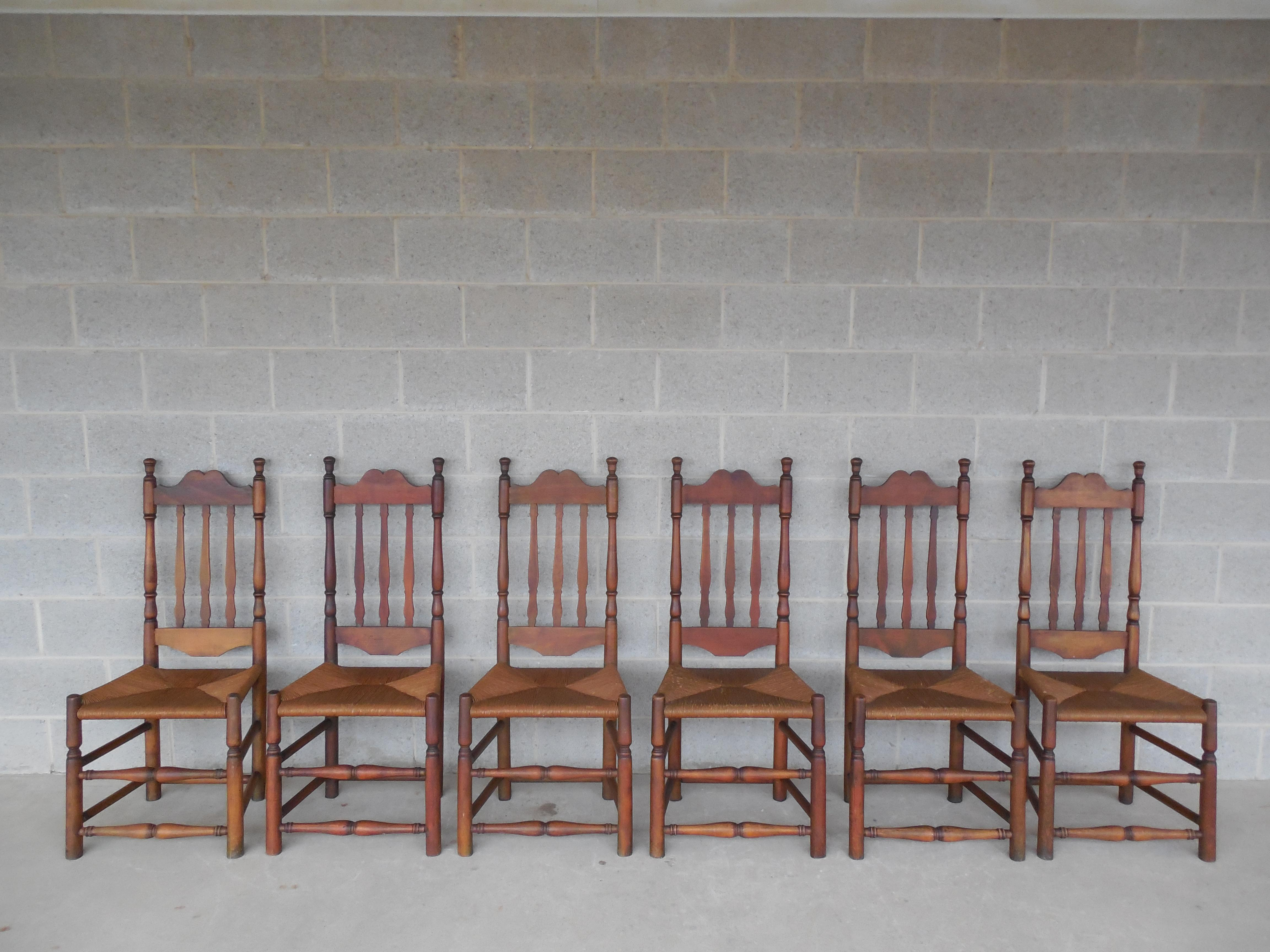 Set Of 6 Antique Turned Windsor Rush Bottom Chairs   Image 12 Of 12