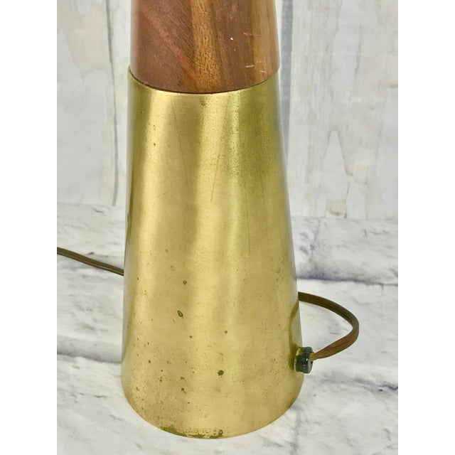 Tony Paul for Westwood Walnut & Brass Cone Table Lamp For Sale - Image 10 of 11