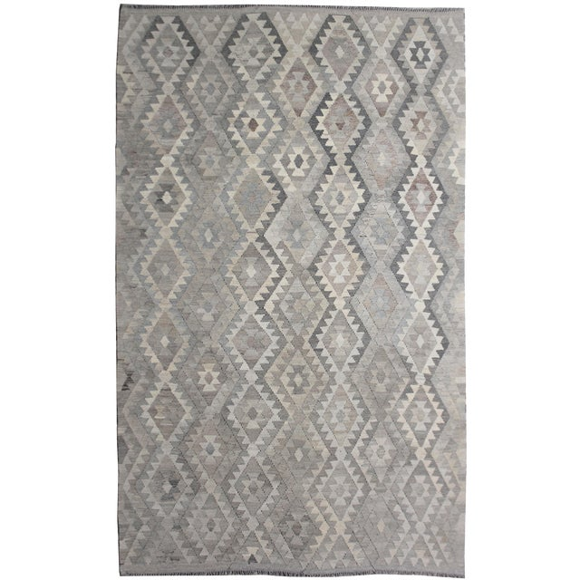 """Hand-Knotted Modern Kilim by Aara Rugs - 9'7"""" x 7'1"""" For Sale"""