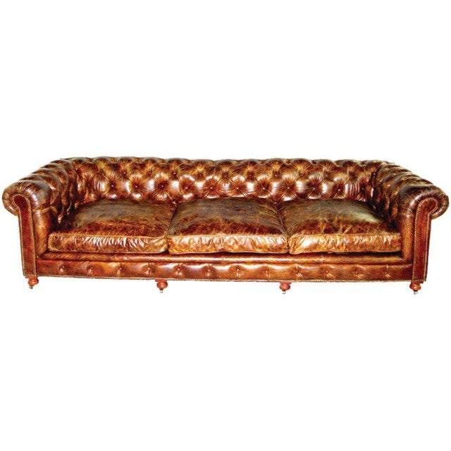 Pair of Monumental Distressed Leather Chesterfield Sofas For Sale In Chicago - Image 6 of 7