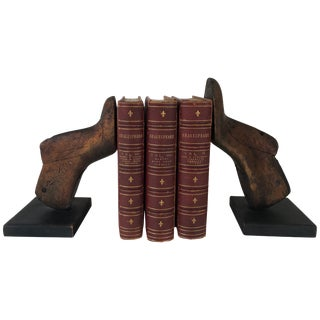 Pair of Vintage Wood Shoe Mold Bookends For Sale
