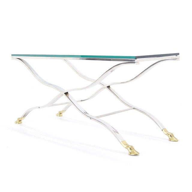 Brass Mid Century Modern Chrome Glass Top Console Table with Brass Hoof-Feet For Sale - Image 7 of 10