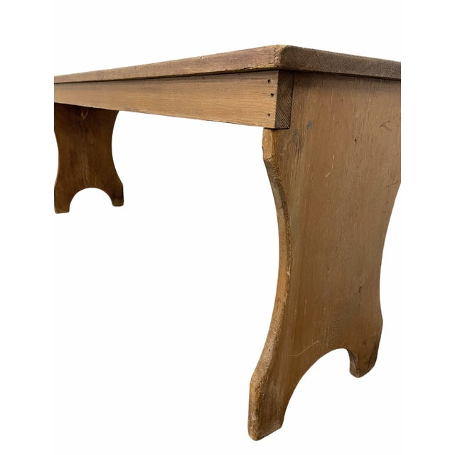 Early 20th Century Vintage Country Farmhouse Wooden Bench For Sale - Image 9 of 10