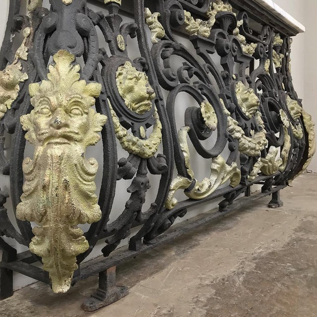 Napoleon III Period Cast Iron Marble Top Console For Sale - Image 9 of 12