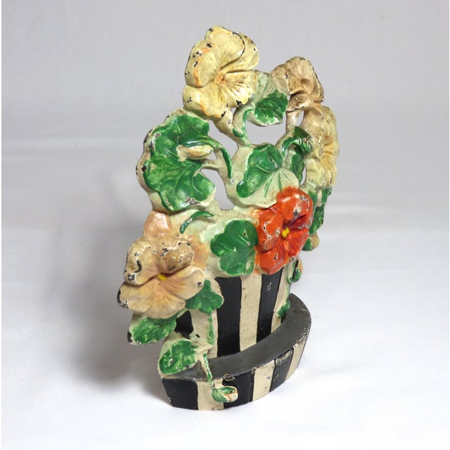 Hubley Manufacturing Company 1920s Hubley Cast Iron Flower Doorstop For Sale - Image 4 of 13
