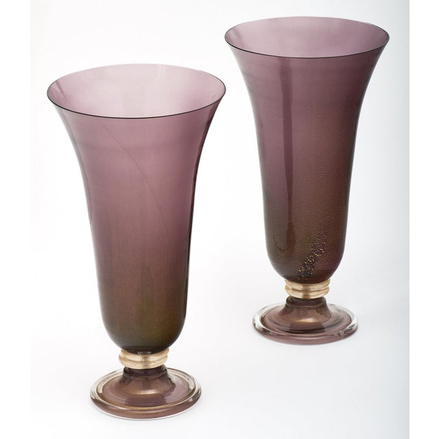 A pair of stunning purple Murano glass urn lamps featuring layered glass in the Avventurina technique (23 carat gold leaf...