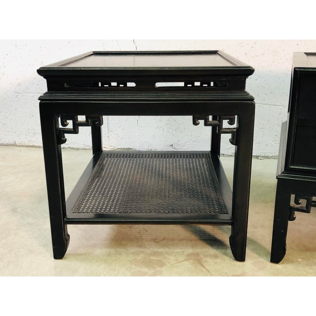 Hekman Furniture Vintage Hekman Furniture Asian Modern Side Tables, Pair For Sale - Image 4 of 13