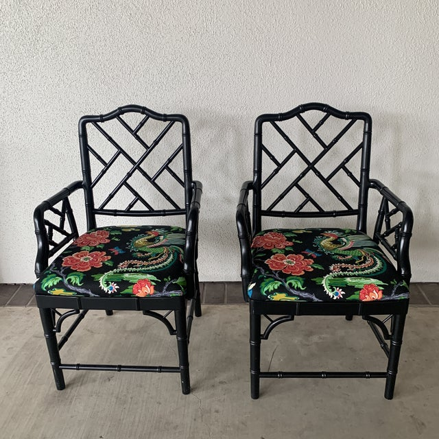 Asian Black Bamboo Chairs- a Pair For Sale - Image 3 of 13
