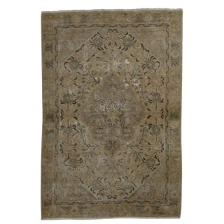 Vintage Mid-Century Persian Tabriz Distressed Wool Rug - 2′11″ × 4′4″ For Sale