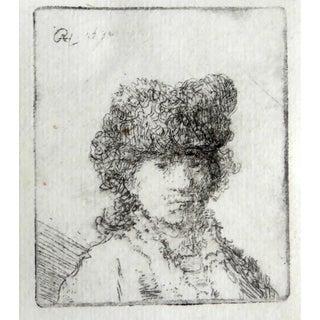 Original Rembrandt Van Rijn Self Portrait in Fur Cap 1630 For Sale