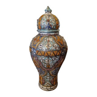 Moroccan Metal Inlaid Urns For Sale