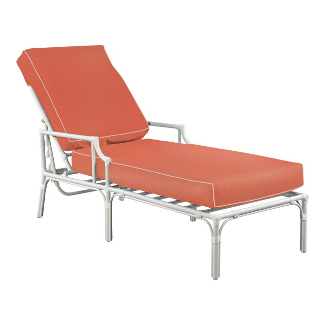Haven Outdoor Chaise, Melon and Blush For Sale