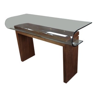 1970s Contemporary Walnut Console Table With Curved Glass Top For Sale