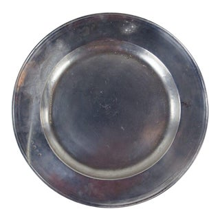 Italian Large Match Pewter Scribed Rim Dinner Plate For Sale