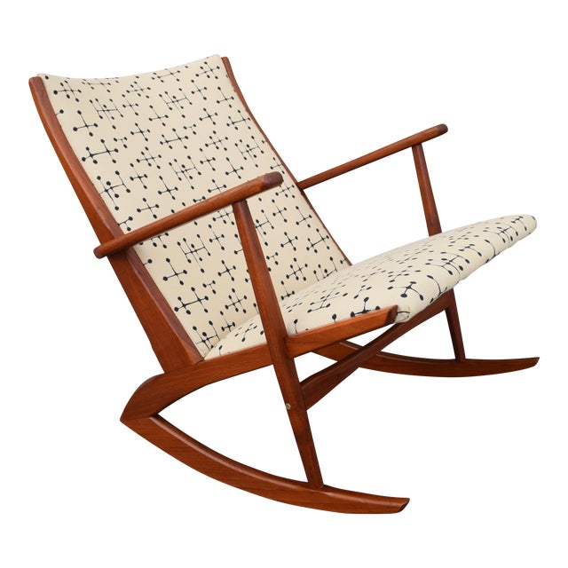 Vintage Georg Jensen for Kubus Danish Mid-Century Boomerang Teak Rocking Chair For Sale