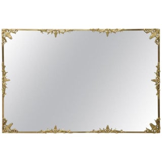 20th Century Italian Golden Bronze Wall Mirror For Sale