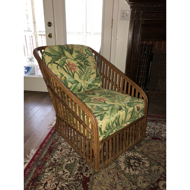 Wood Vintage Bamboo With Waverly Fabric Club Chair For Sale - Image 7 of 7