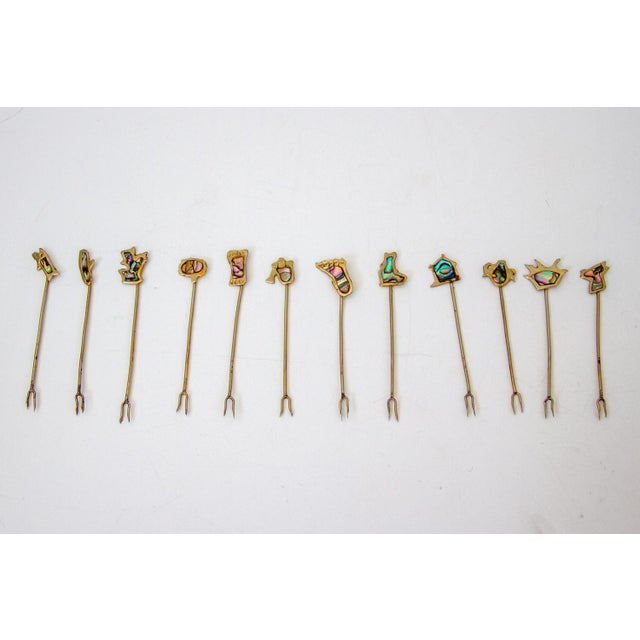Sterling and Abalone Cocktail Forks - Set of 11 For Sale - Image 4 of 9