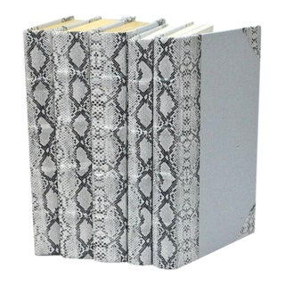 Exotic Collection Python White Books - Set of 5 For Sale