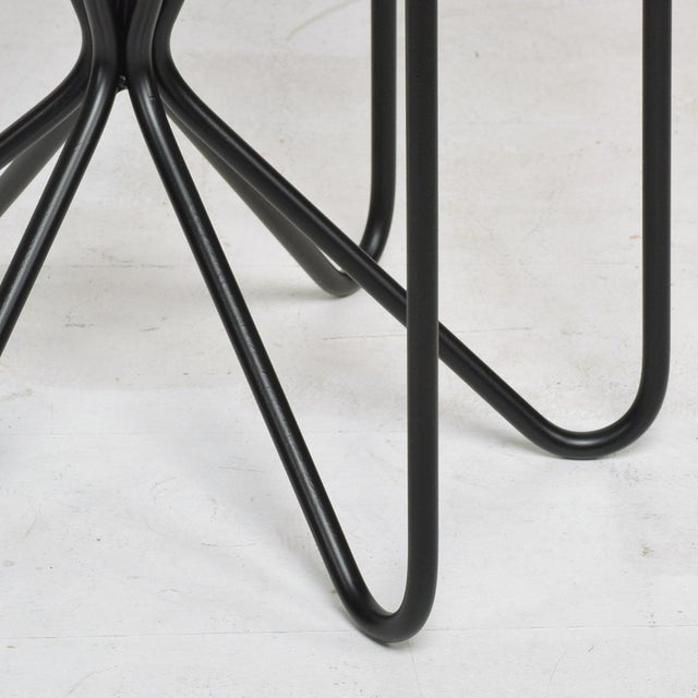 1990s French Modern Sculptural Metal & Marble Hexagonal Side Table After Jean Royere For Sale - Image 5 of 9
