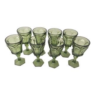 Mid-Century Green Wine Glasses - Set of 8