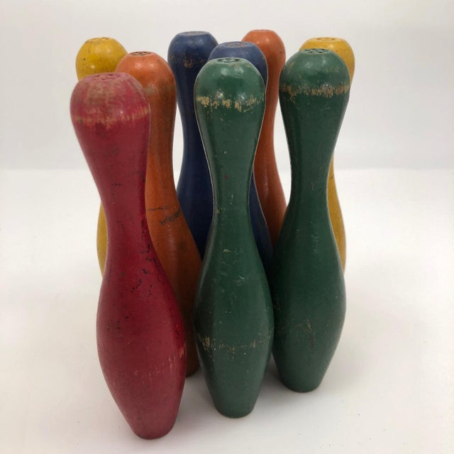 Early 20th Century Vintage Painted Wooden Toy Bowling Pins - Set of 9 For Sale In Boston - Image 6 of 11