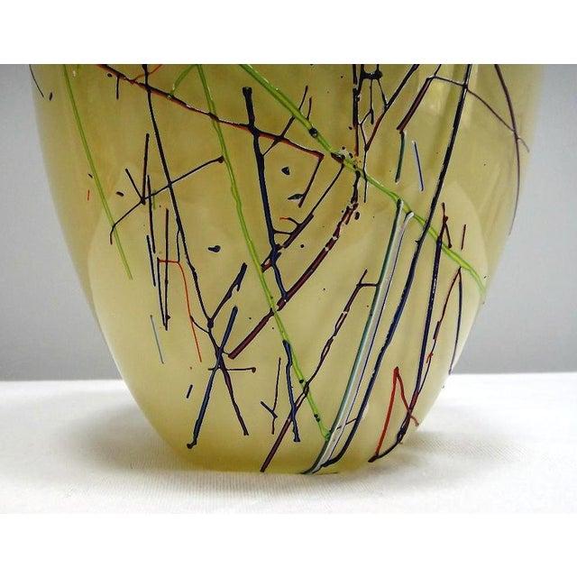 Large Barbini Murano Art Glass Vase Offered for sale is a large Barbini Murano art glass vase. The vase has glass stringer...
