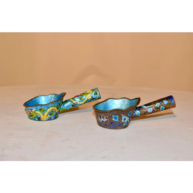 Paint Pair of 19th Century Chinese Enameled Ladles For Sale - Image 7 of 7