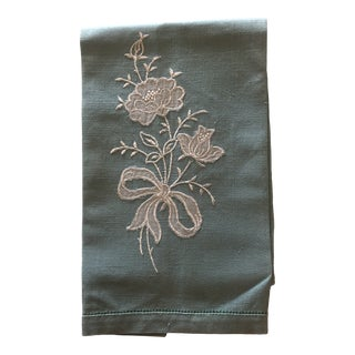 Vintage Green and White Embroidered Flower Linen Guest Towel For Sale