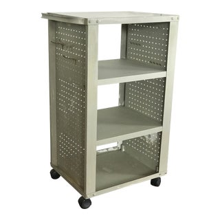 1950s Industrial Mint Metal Utility Cart With Peg Boards For Sale