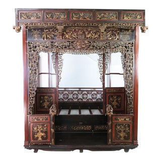 Antique Chinese Carved Wedding Bed Canopy Opium Bed For Sale