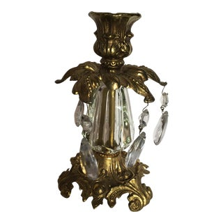 Brass & Crystal Candle Holder