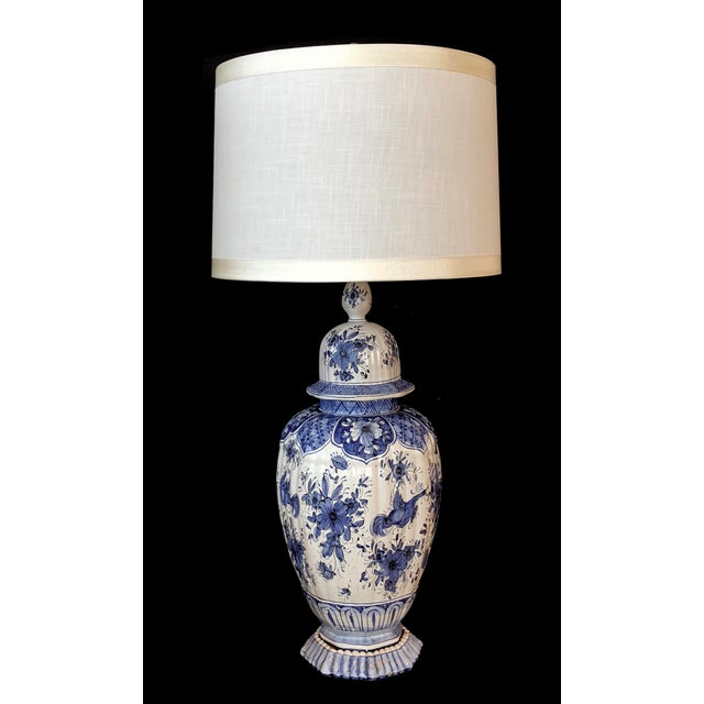 Ceramic A Large and Good Quality Dutch 19th Century Blue and White Tin-Glazed Delft Ginger Jar Now Mounted as a Lamp For Sale - Image 7 of 7