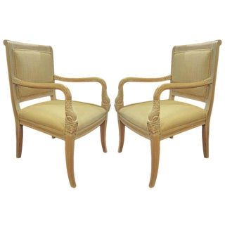 Arm Chairs with Swan Heads - Pair
