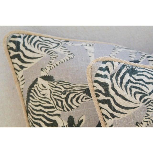"Fabric Safari Zebra Linen/Velvet Feather & Down Pillows 24"" X 18"" - Pair For Sale - Image 7 of 11"