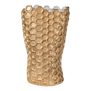 1980s Italian Gold Honeycomb Vase For Sale