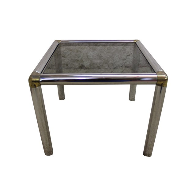 1970s Brass And Chrome Glass End Table Chairish