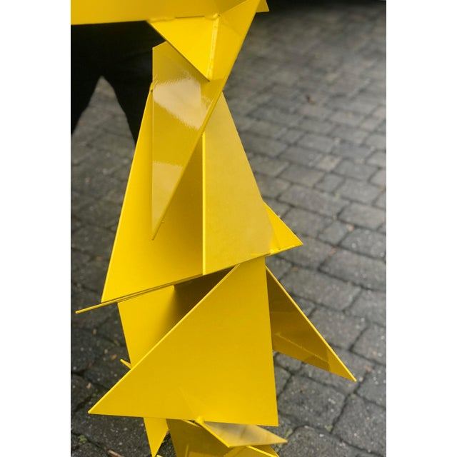 """Not Yet Made - Made To Order Abstract Modern """"Trougao"""" Yellow Triangle Garden Sculpture For Sale - Image 5 of 6"""