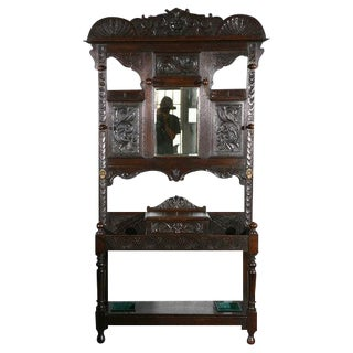 Carved Hallstand with Mirror For Sale