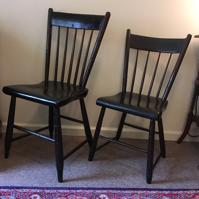 Country Craftsman Made Side Chairs C. 1840s For Sale - Image 3 of 4