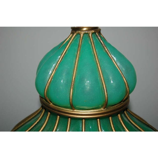 Marbro Murano Opaline Glass Table Lamps Green For Sale In Little Rock - Image 6 of 9