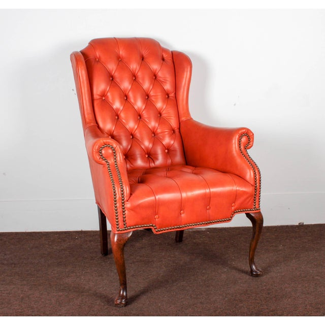 Orange Tufted Leather Queen Anne Mahogany Armchair - Image 2 of 11