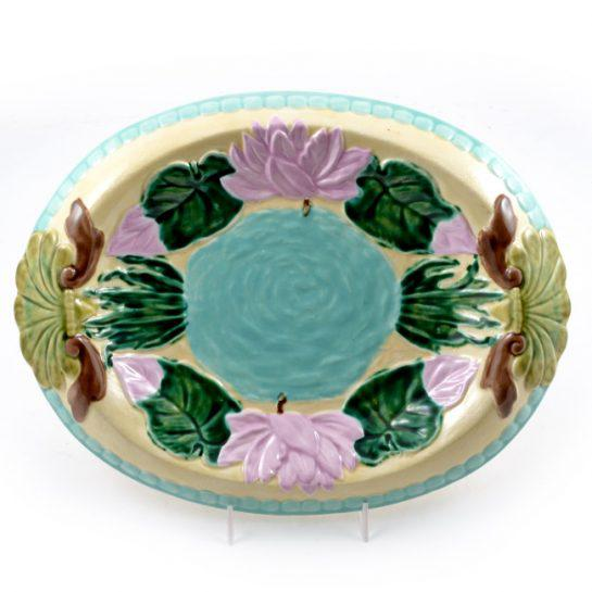 Vintage Hand Painted Majolica Oval Platter, Marked Jd For Sale - Image 12 of 12