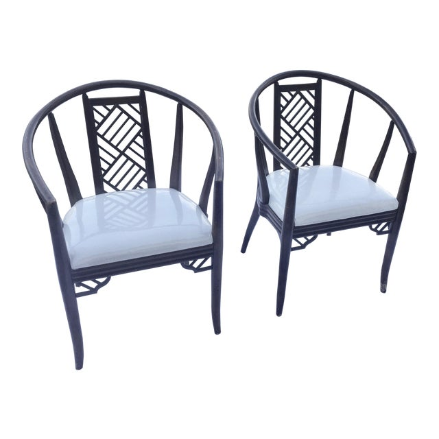 Wood 1980s Chinoiserie Curved Barrel Back Armchairs - a Pair For Sale - Image 7 of 7