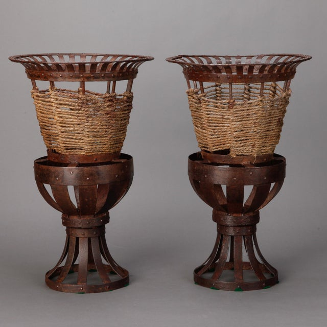 Pair 1930's French Iron & Woven Jute Jardinières Planters - Image 3 of 3