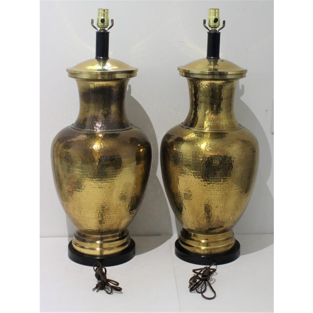 Mid-Century Modern Mid-Century Table Lamps Made From Artisan Hammered Brass Vases - a Pair For Sale - Image 3 of 13