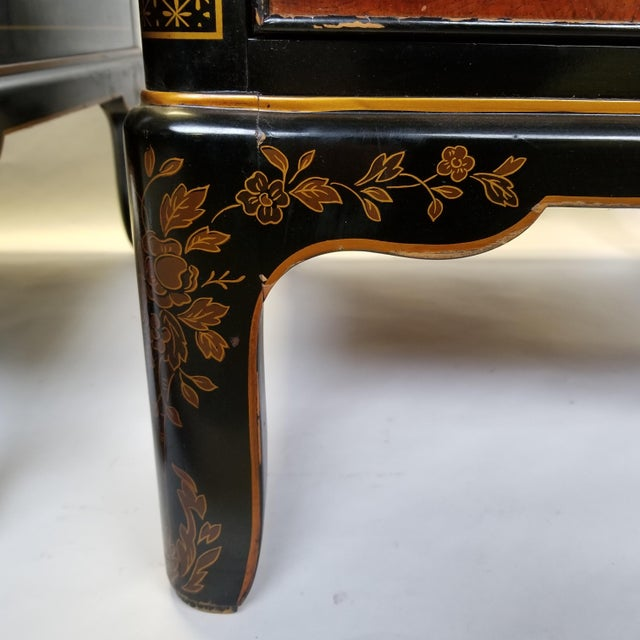 Metal Drexel Et Cetera Chinoiserie Black Lacquer Burlwood Side Tables - a Pair For Sale - Image 7 of 11