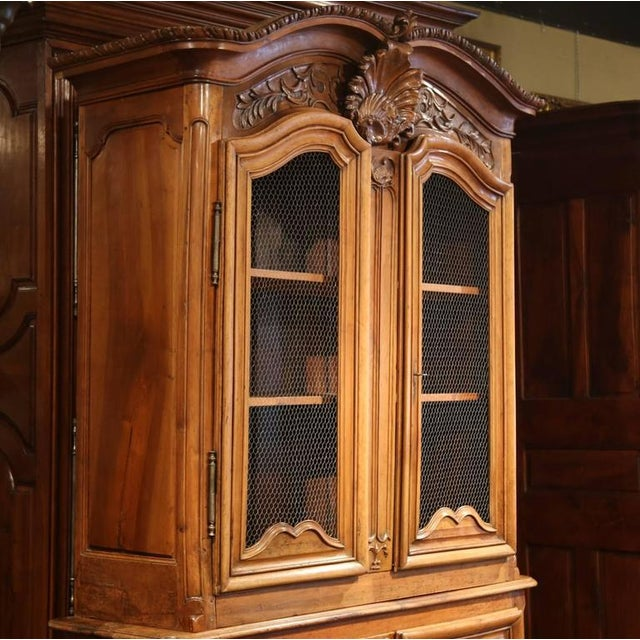 Walnut 18th Century French Carved Walnut Buffet Deux Corps For Sale - Image 7 of 10
