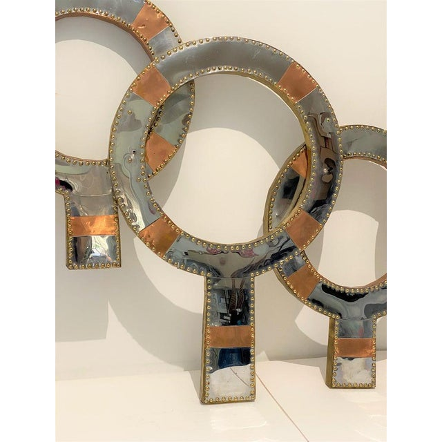 "Mid-Century Modern Curtis Jere Style Mixed Metal Wall Sculpture ""Neutrality"" 1970s For Sale - Image 3 of 13"