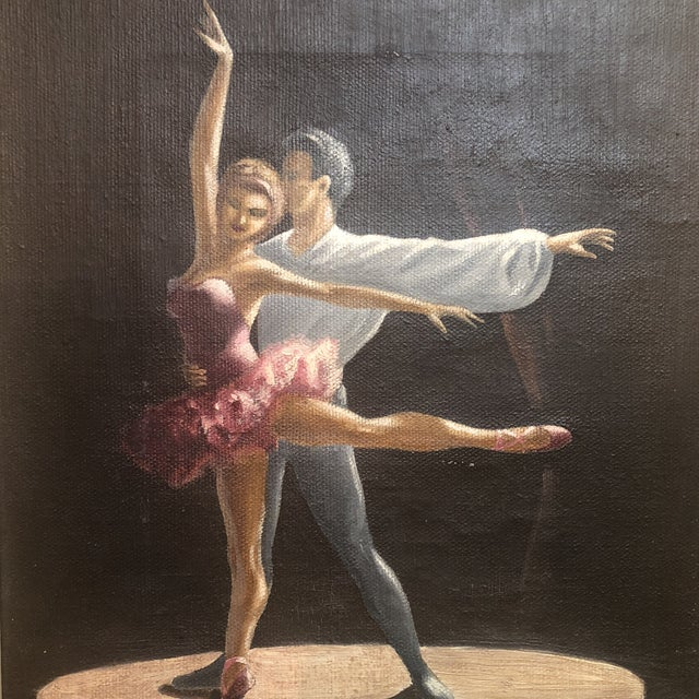 Oil Paint Vintage Oil Painting of Two Classical Ballet Dancers on Stage For Sale - Image 7 of 8
